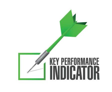define: key performance indicator dart check mark illustration design over a white background