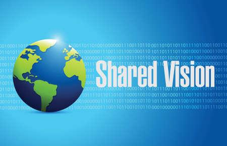 common vision: shared vision globe sign illustration design over a blue background