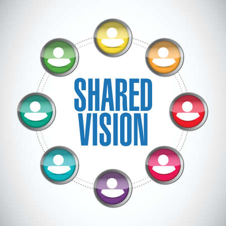 common vision: shared vision people diversity illustration design over a white background Illustration