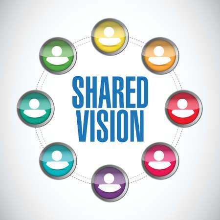 common vision: shared vision people diversity illustration design over a white background Illustration