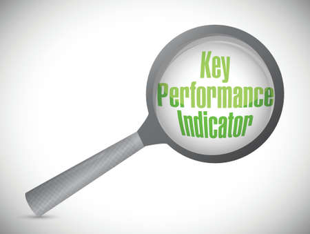 key performance indicator magnify glass illustration design over a white background