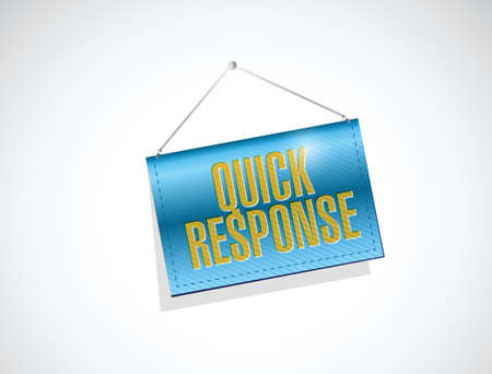 quick response: quick response hanging banner illustration design over a white background Illustration