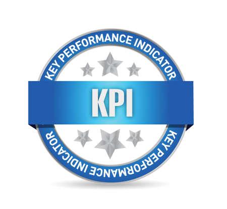 define: key performance indicator seal illustration design over a white background