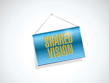 hanging banner: shared vision hanging banner illustration design over a white background
