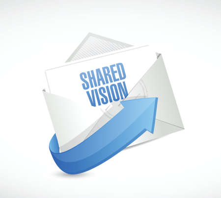 common vision: shared vision email message illustration design over a white background
