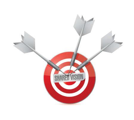 common vision: shared vision target illustration design over a white background