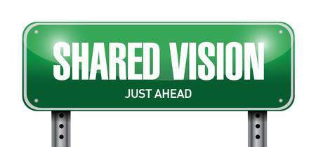 meet: shared vision road sign illustration design over a white background