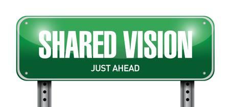 collaboration: shared vision road sign illustration design over a white background