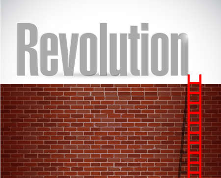 clime to revolution. illustration design over a brick wall background Stock Photo