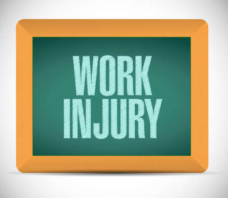 compensate: work injury board sign illustration design over a white background Stock Photo