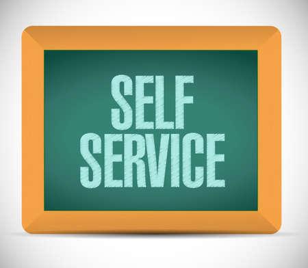 self help: self service board sign illustration design over a white background