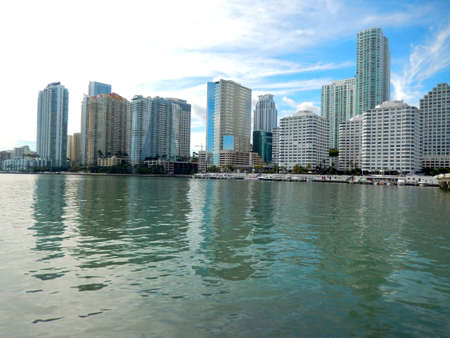 Downtown Miami along Biscayne Bay with Brickell Key in the background. photo