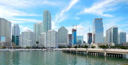 Downtown Miami view along Biscayne Bay from Brickell Key photo