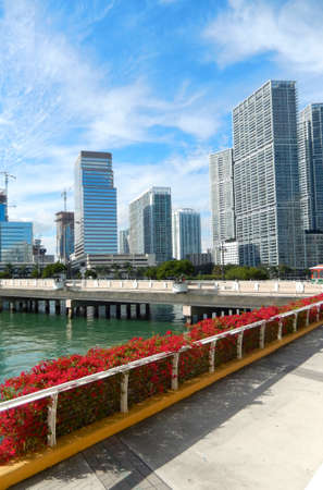 key biscayne: Downtown Miami view along Biscayne Bay from Brickell Key Stock Photo