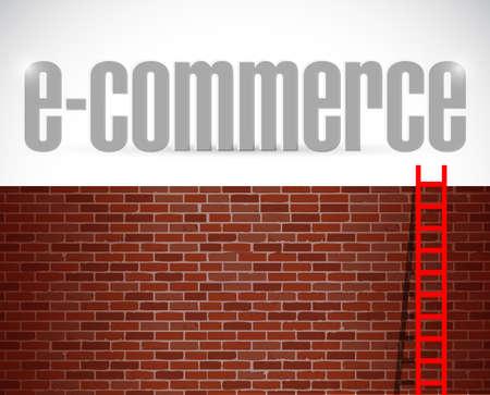 domains: e-commerce ladder illustration design over brick wall background