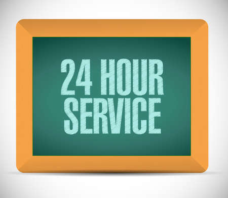 shop opening hours: 24 hour service board sign illustration design over a white background Stock Photo