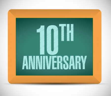 10th: 10th anniversary board sign illustration design over a white background Stock Photo
