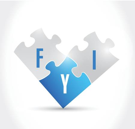 acronym: fyi for your information puzzle pieces illustration design over a white background