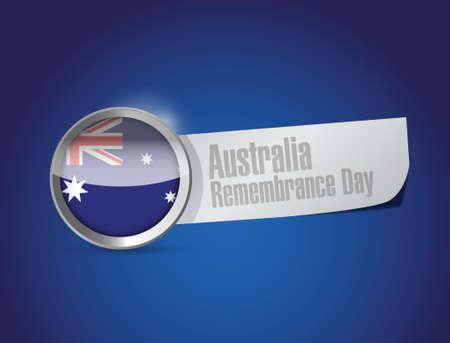 remembrance day: australia giorno ricordo sigillo design illustrazione su uno sfondo blu
