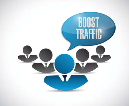 pageviews: boost traffic people message sign illustration design over a white background