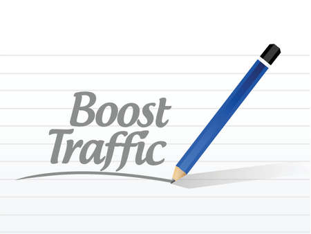 pageviews: boost traffic message sign illustration design over a white background