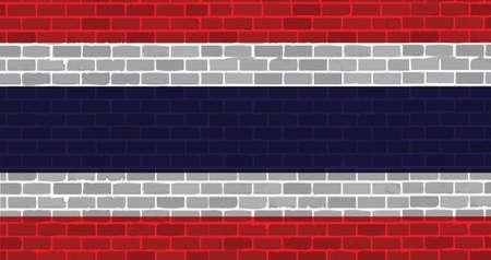 brick wall thai flag illustration design artwork background Vector