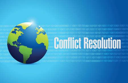 conflict resolution globe sign illustration design over a blue background