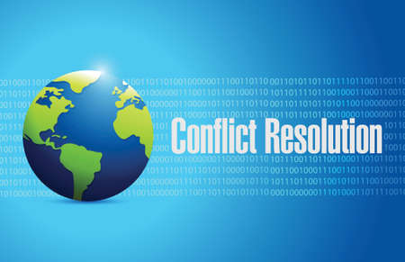 konflikt: rozwiązywanie konfliktów globu znak projektowania ilustracji na niebieskim tle Ilustracja