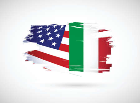 italian american flag illustration design over a white background