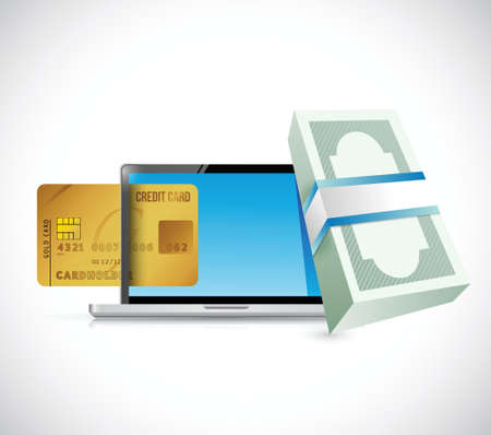 echnology: money online credit card concept. illustration design over a white background