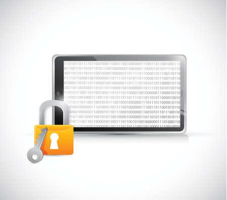 secure binary tablet illustration design over a white background Illustration