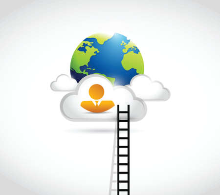 rung: people ladder to globe. illustration design over a white background Illustration