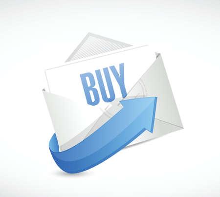 purchasing: buy mail illustration design over a white background Illustration