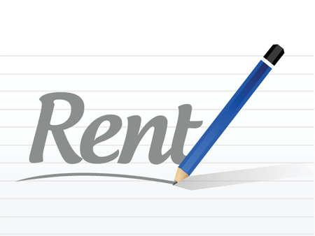 renting: rent message sign illustration design over a white background Illustration