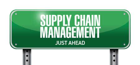supply chain management road sign illustration design over a white background Illustration