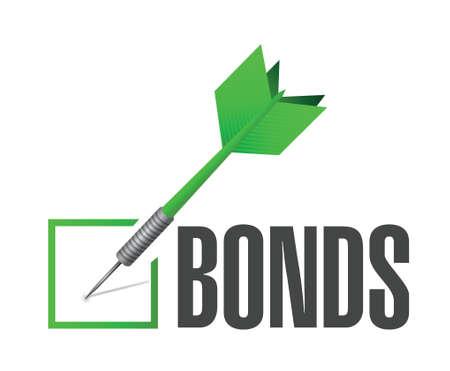 bonds: bonds check dart selection illustration design over a white background