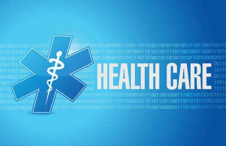 health care binary sign illustration design over a blue background