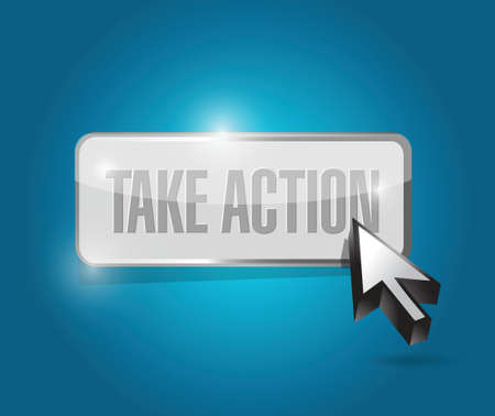 promptly: take action button illustration design over a blue background