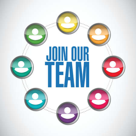 join the team: join our team people diagram illustration design over a white background