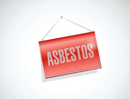 asbestos: asbestos hanging banner illustration design over a white background Illustration