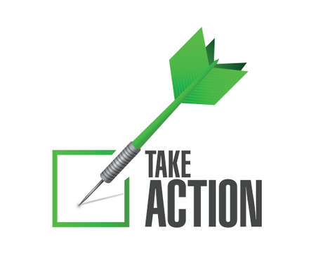 take action: take action check dart sign illustration design over a white background