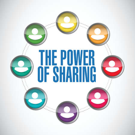 the power of sharing people diagram illustration design over a white background Çizim