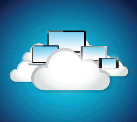 liquid crystal display: cloud computing technology network illustration design over a blue background