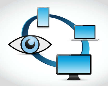 under surveillance: electronics under surveillance concept illustration design over a white background