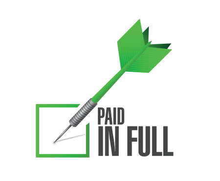 compensate: paid in full dart check mark illustration design over a white background