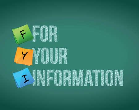 fyi for your information board sign illustration design over chalkboard background