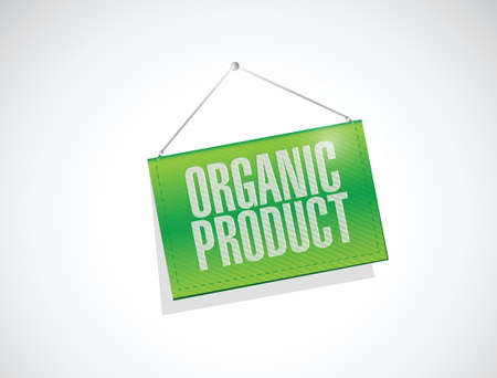 inspected: organic product banner sign illustration design over a white background