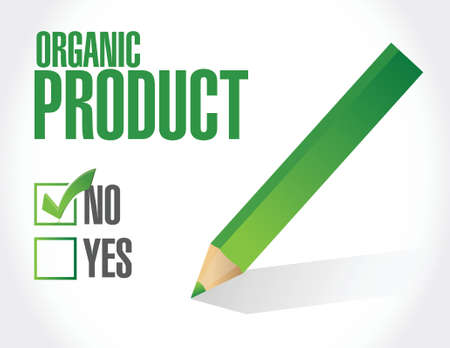 pesticide free: no to organic products check list illustration design over a white background