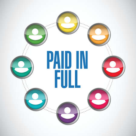compensate: paid in full people diagram illustration design over a white background