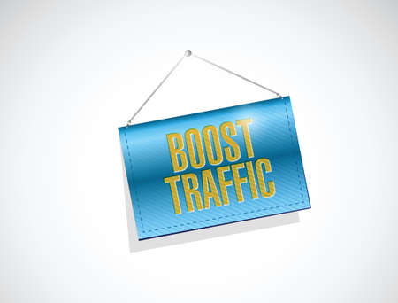 pageviews: boost traffic hanging banner illustration design over a white background